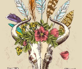 Indian tribe feathers animal skull decoration vector
