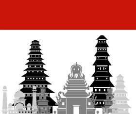 Indonesia collection of different architecture vector