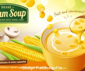 Instant corn cream soup ads with fresh corncob and mushroom vector