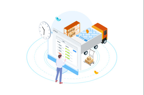 Intelligent logistics freight cartoon vector