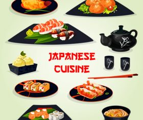 Japanese cartoon cuisine vector