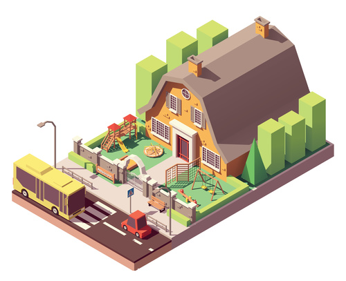 Kindergarten isometric building vector