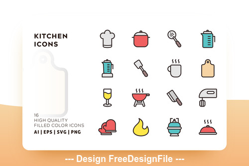 Kitchen filled color vector