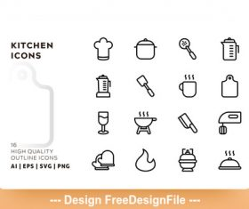 Kitchen outline vector
