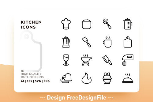 Kitchen outline vector