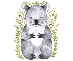 Koala hand drawn watercolor animals vector