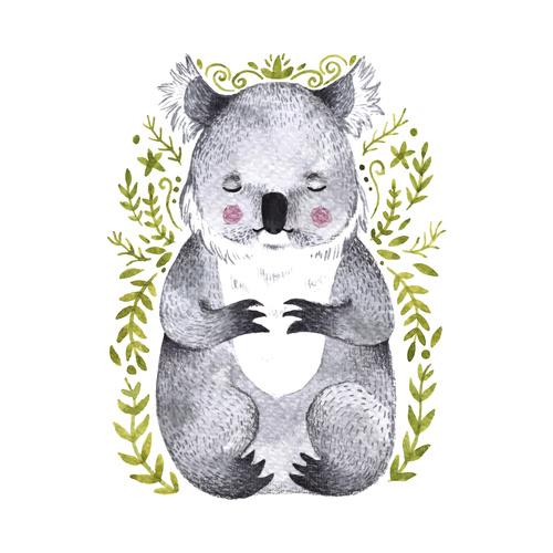 Koala hand drawn watercolor animals vector