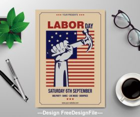 Labor day subjects flyers vector