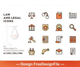 Law and legal filled color vector