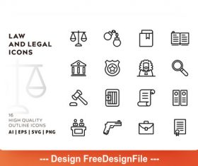 Law and legal outline vector
