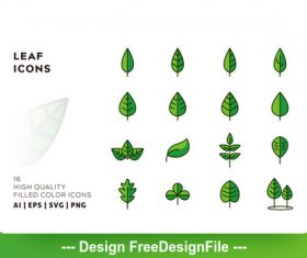 Leaf filled color vector