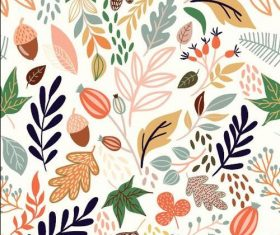 Leaves and fruits seamless pattern vector