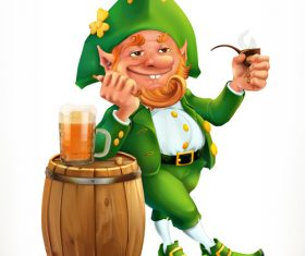 Leprechaun and beer feast of saint patrick 3d vector