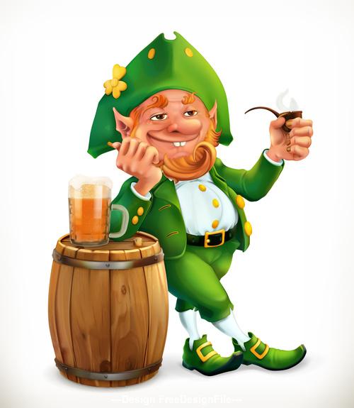 Leprechaun and beer feast of saint patrick 3d vector