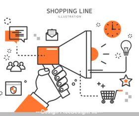 Line Shopping Illustration