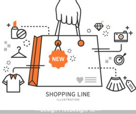 Line shopping promotion Illustration vector