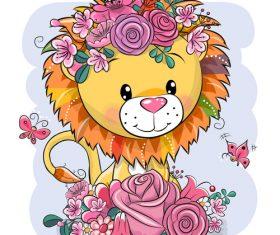 Lion wearing wreath cartoon 3d illustration vector