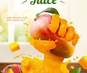 Liquid hand grabbing fruit effect in 3d vector illustration