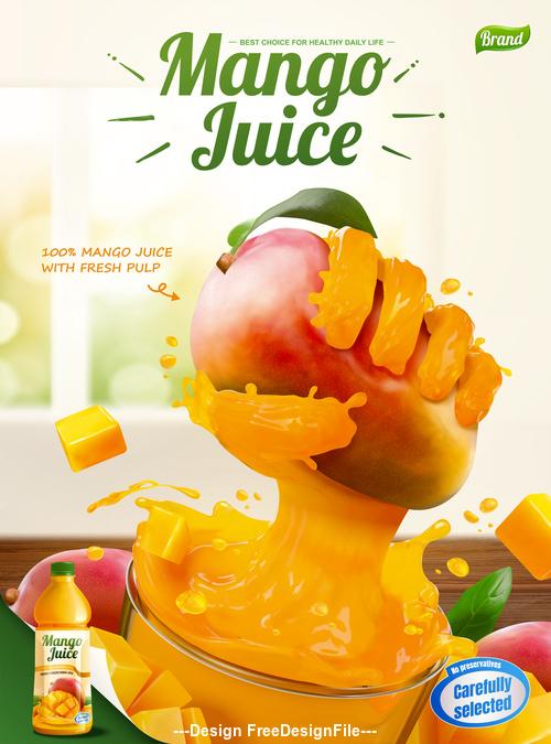 Liquid hand grabbing fruit effect in 3d vector illustration