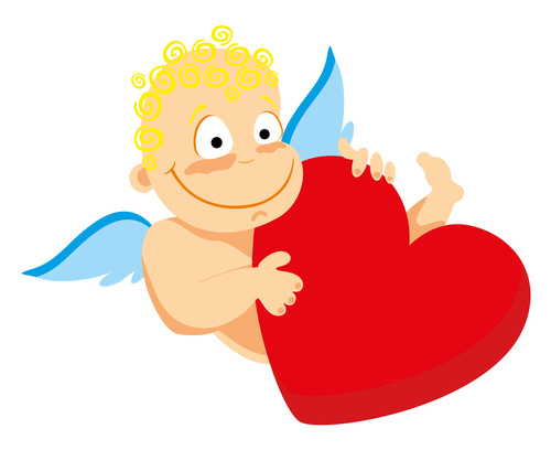 Little angel and heart vector image