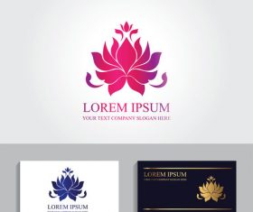 Lotus business card logo design vector