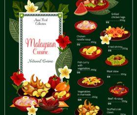 MALAYSIAN cuisine menu vector