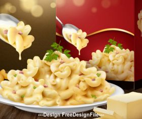 Macaroni advertisement 3d illustration vector