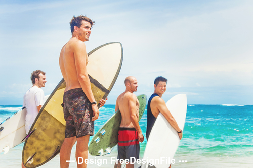Man and surfboard with beach stock photo