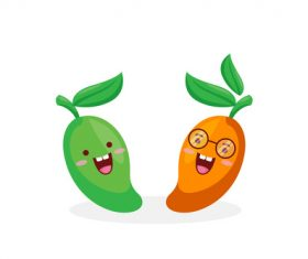 Mango funny cartoon emoticon vector