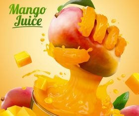 Mango juice banner ads vector illustration