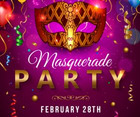 Mardi gras masquerade party cover vector