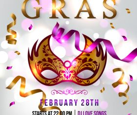 Mardi gras masquerade party flyer vector