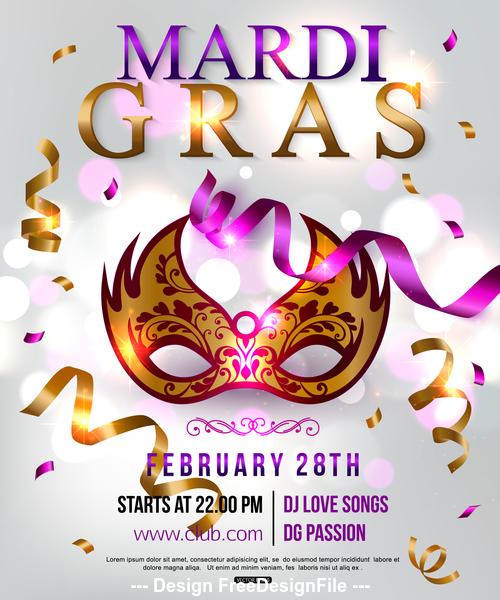 Mardi gras masquerade party flyer vector