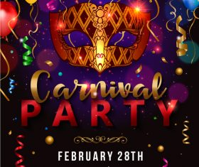 Masquerade party flyer vector