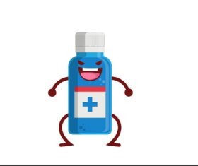 Medicine Bottle Expression Cartoon vector