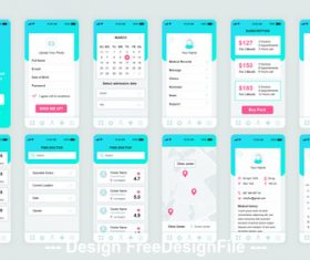 Medicine Mobile App UI Kit vector