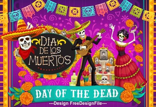 Mexico dead day celebration vector