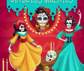 Mexico dead day in Undead styling vector