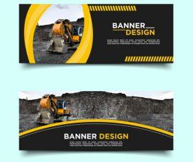 Mine loader banner template design vector