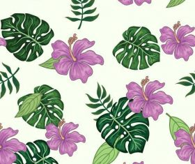 Mix flower and leaf Patterns set vector