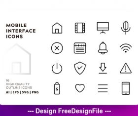 Mobile interface outline vector