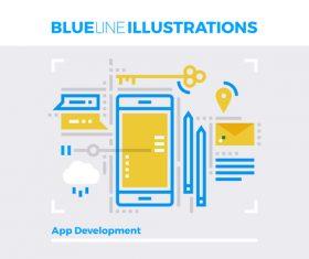 Mobile platform blue line vector