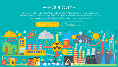 Modern 3D ecology flat design concept vector