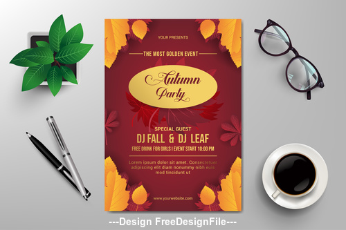 Most golden event flyer design vector template
