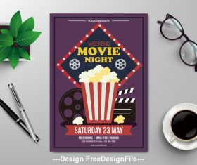 Movie night subjects flyers vector