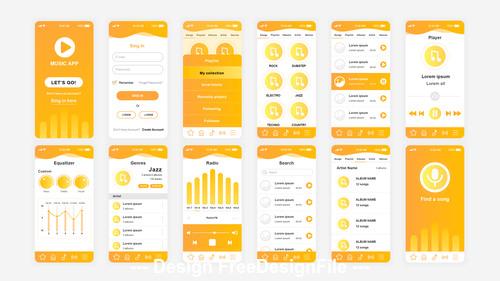 Music Mobile App UI Kit vector