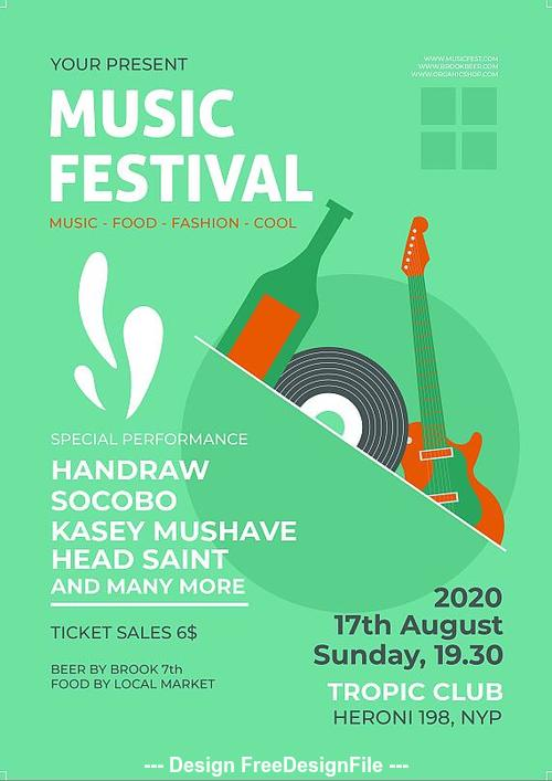 Music fest flyer psd template