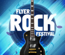 Music festival blue flyer guitar vector