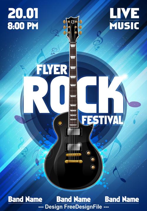 Music festival blue flyer guitar vector