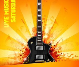 Music festival orange flyer guitar vector